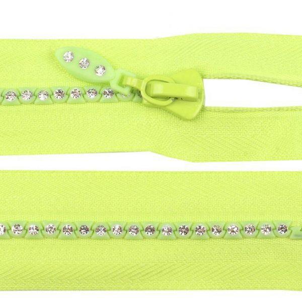 Kostěný zip délka 65 cm - limetková