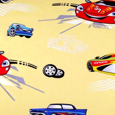 Metráž: Bavlněná látka - auta na žluté