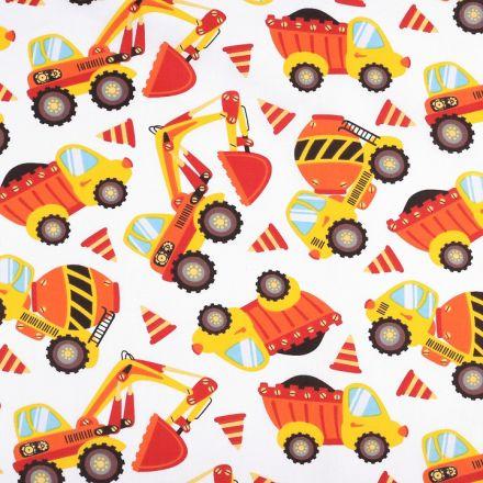 Metráž: Bavlněná látka auta - oranžová