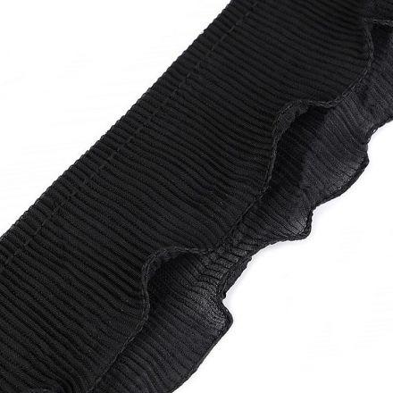 Galanterie: Volánek plisovaný šíře 78 mm - černá