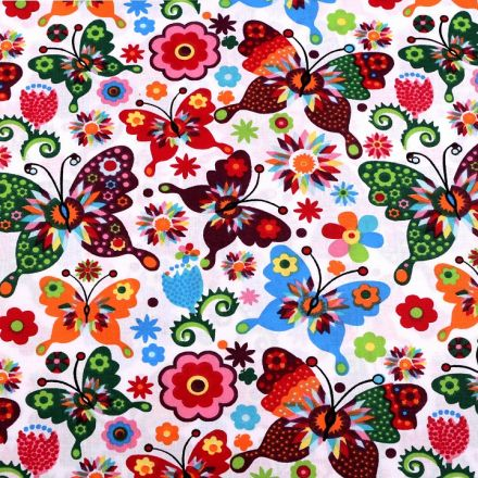 Metráž: Bavlněná látka motýl - bílá