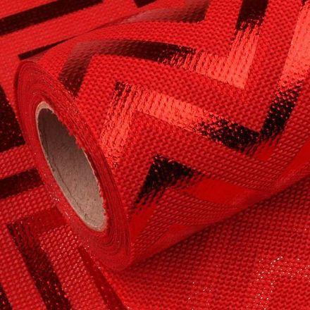 Metráž: Imitace juty chevron - červená