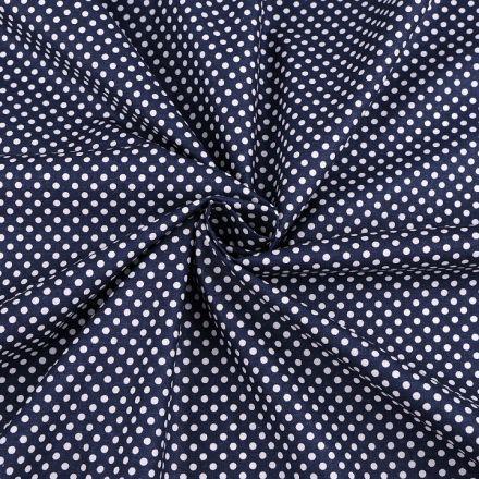 Metráž: Bavlněná látka puntík - tmavě modrá