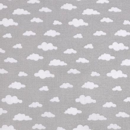 Metráž: Bavlněná látka obláčky - šedá