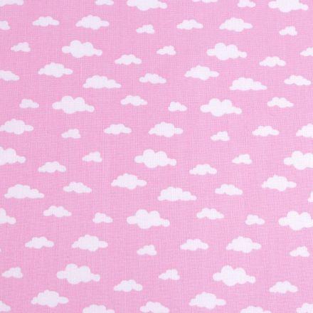 Metráž: Bavlněná látka obláčky - růžová
