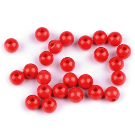 Galanterie: Plastové korálky 8 mm (25ks) - červená