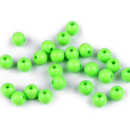 Galanterie: Plastové korálky 8 mm (25ks) - sv. zelená