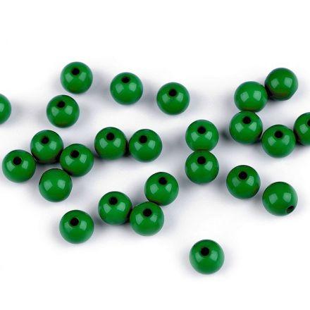 Galanterie: Plastové korálky 8 mm (25ks) - tm. zelená