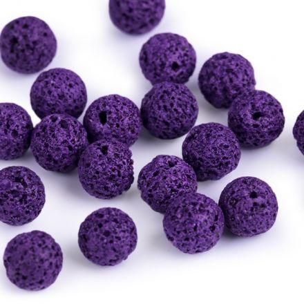 Galanterie: Minerálové korálky Přírodní láva 8 mm (10ks) - fialová