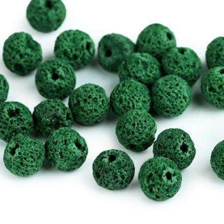 Galanterie: Minerálové korálky Přírodní láva 8 mm (10ks) - zelená