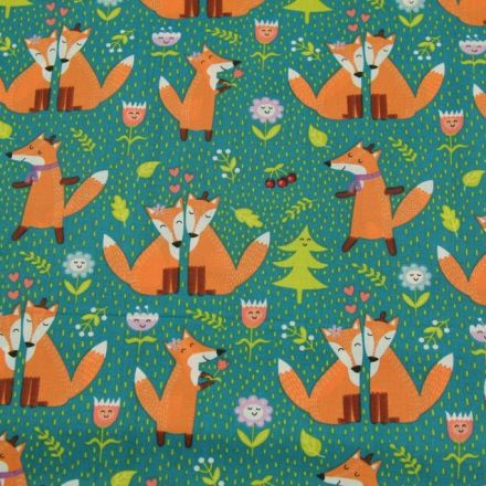 Metráž: Bavlněná látka liška - zelená