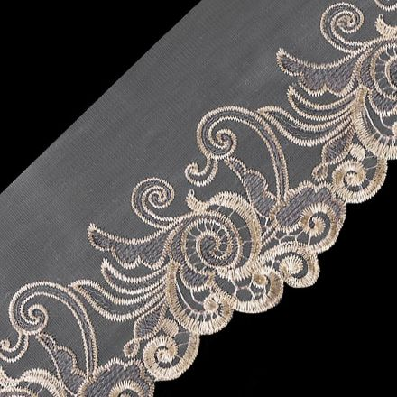 Galanterie: Vyšívaný prýmek na monofilu šíře 18 cm
