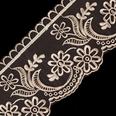 Galanterie: Krajka na monofilu šíře 11 cm - béžová
