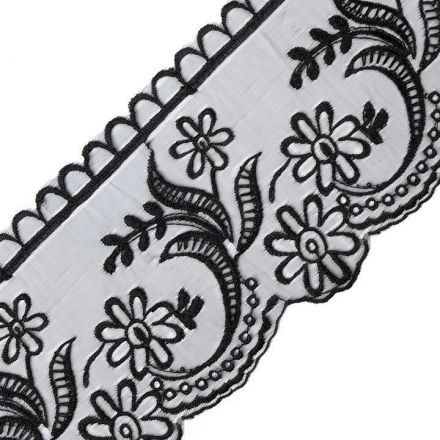 Galanterie: Krajka na monofilu šíře 11 cm - černá