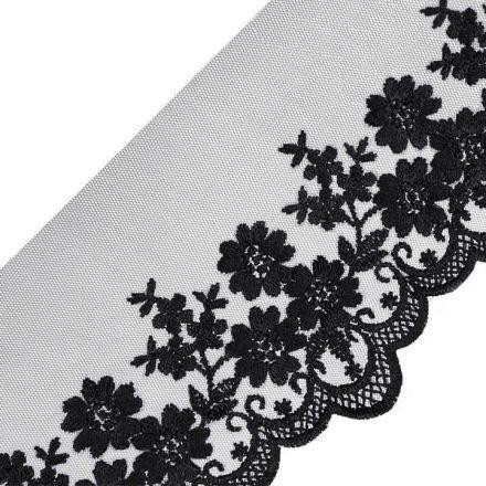 Galanterie: Vyšívaná krajka šíře 90 mm - černá