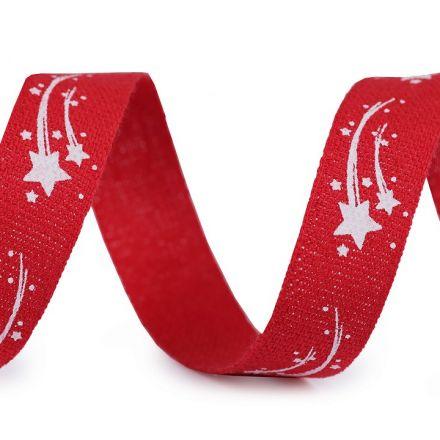 Galanterie: Vánoční bavlněná stuha - červená