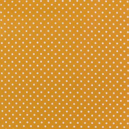 Metráž: Bavlněná látka puntík sada s nití - hořčicová
