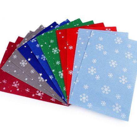 Galanterie: Vánoční dekorativní plsť/filc 20 x 30 cm (12ks) - mix