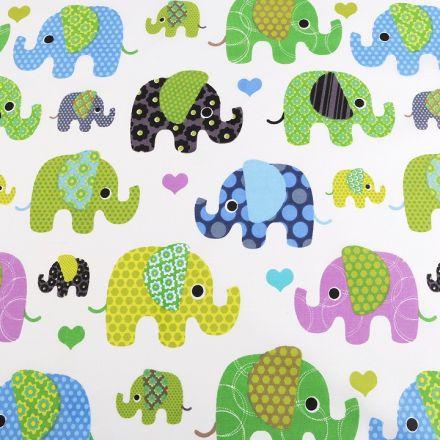 Metráž: Bavlněná látka slon - zelená