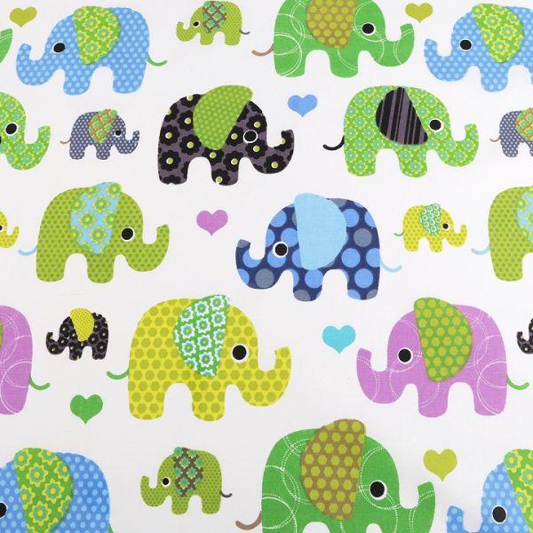 Bavlněná látka slon - zelená