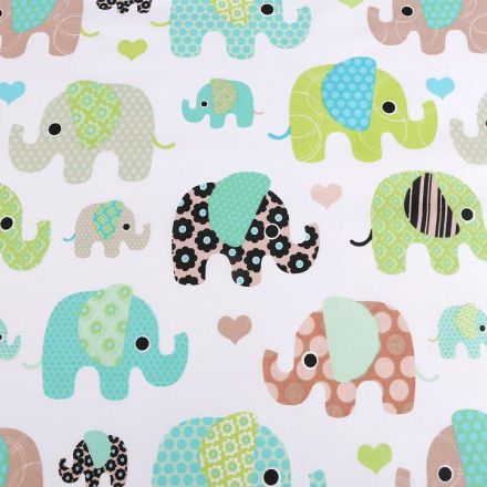 Metráž: Bavlněná látka slon - mint