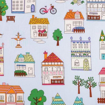 Metráž: Bavlněná látka domy šíře 110 cm (1m)