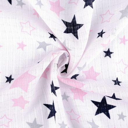 Metráž: Bavlněná plenkovina hvězdy - růžovomodrá