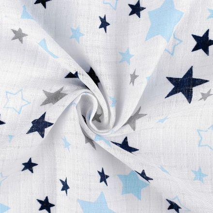 Metráž: Bavlněná plenkovina hvězdy - modrá