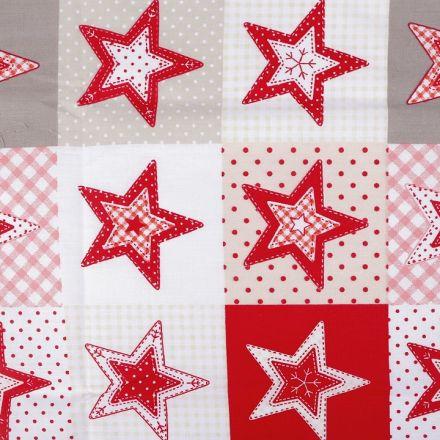 Metráž: Vánoční bavlněná látka hvězdy - červená