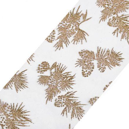 Galanterie: Vánoční organza / stuha s glitry šíře 10 cm