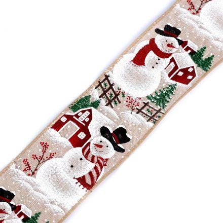 Galanterie: Vánoční plátnová stuha šíře 60 mm - sněhulák