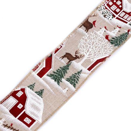 Galanterie: Vánoční plátnová stuha šíře 60 mm - krajina