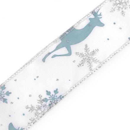 Galanterie: Vánoční atlasová stuha šíře 37 mm - šedozelená