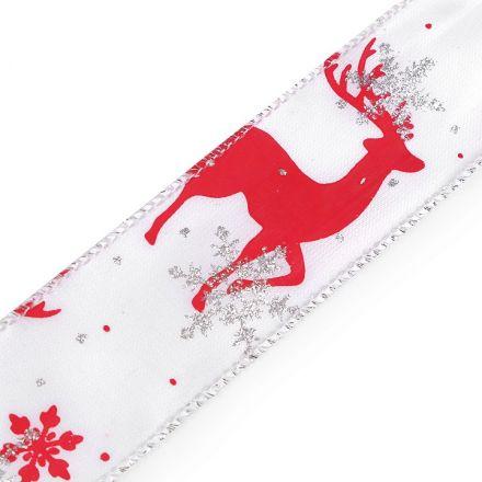 Galanterie: Vánoční atlasová stuha šíře 37 mm - červená