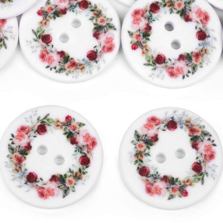 Galanterie: Knoflík s květy 30 mm (1ks)