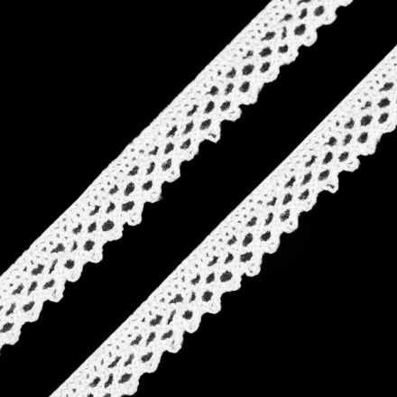 Galanterie: Bavlněná krajka šíře 12 mm - bílá