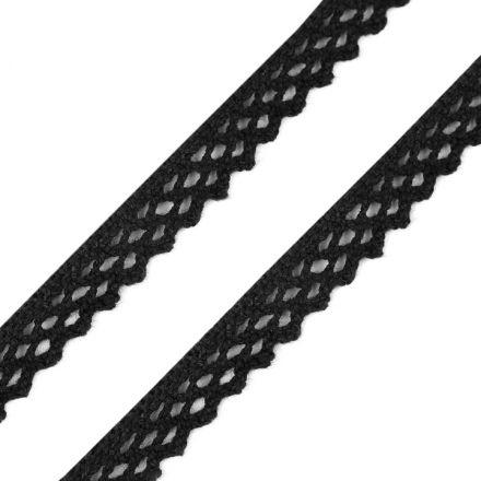 Galanterie: Bavlněná krajka šíře 12 mm - černá