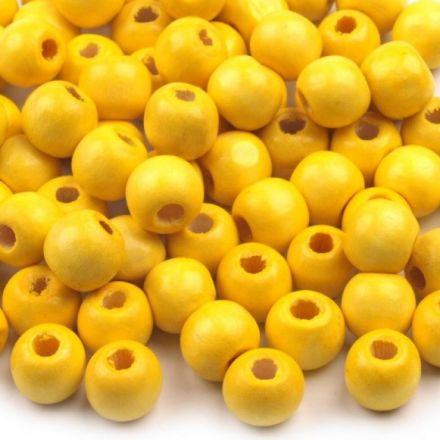 Galanterie: Dřevěné korálky 10 mm (70ks) - žlutá