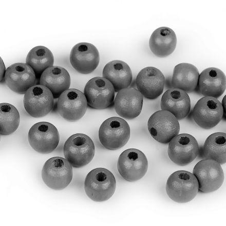 Galanterie: Dřevěné korálky 10 mm (70ks) - šedá