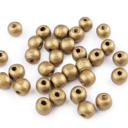 Galanterie: Dřevěné korálky 10 mm (30ks) - zlatá