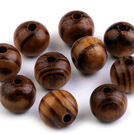 Galanterie: Dřevěné korálky 16 mm (10ks) - dub