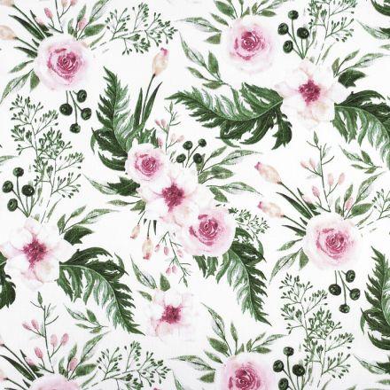 Metráž: Bavlněná látka růže (1m) - bílá