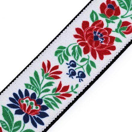Galanterie: Pruženka folklor šíře 40 mm (1m) - bílá