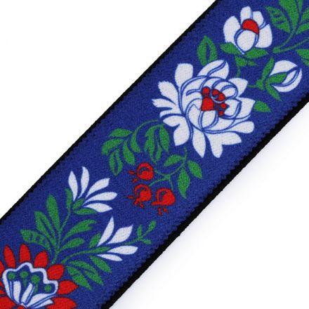Galanterie: Pruženka folklor šíře 40 mm (1m) - modrá