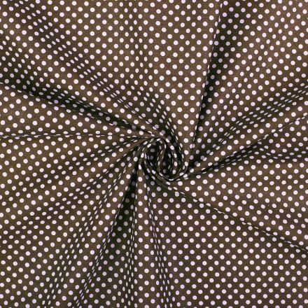 Metráž: Bavlněná látka puntík - hnědá