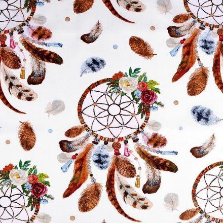 Metráž: Bavlněná látka lapač snů - bílá