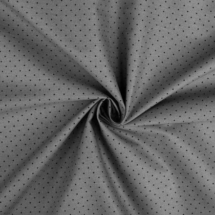 Metráž: Bavlněná látka puntík - tm. šedá