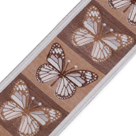 Galanterie: Vzorovka motýli šíře 90 mm (1m) - tm.béžová