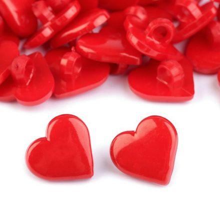 Galanterie: Knoflík srdce 15,2 mm  - červená