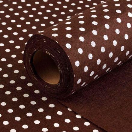 Galanterie: Plsť / filc šíře 40 cm puntík - hnědá
